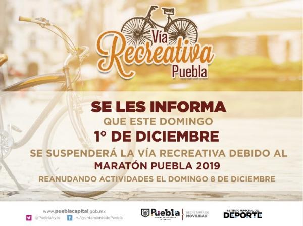 Suspenderán Vía Recreativa el 1 de diciembre por el Maratón Puebla 2019.