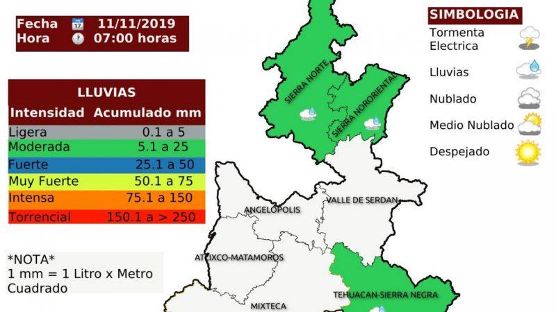 Puebla inicia la semana con lluvias en algunas regiones