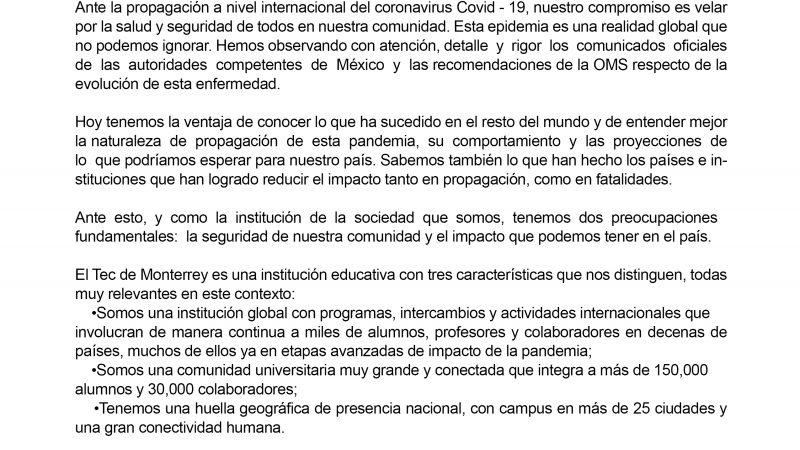 Tec de Monterrey suspende clases como precaución de Covid-19