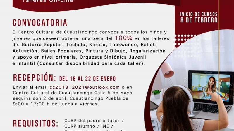 Ofrece ayuntamiento de Cuautlancingo becas culturales en línea
