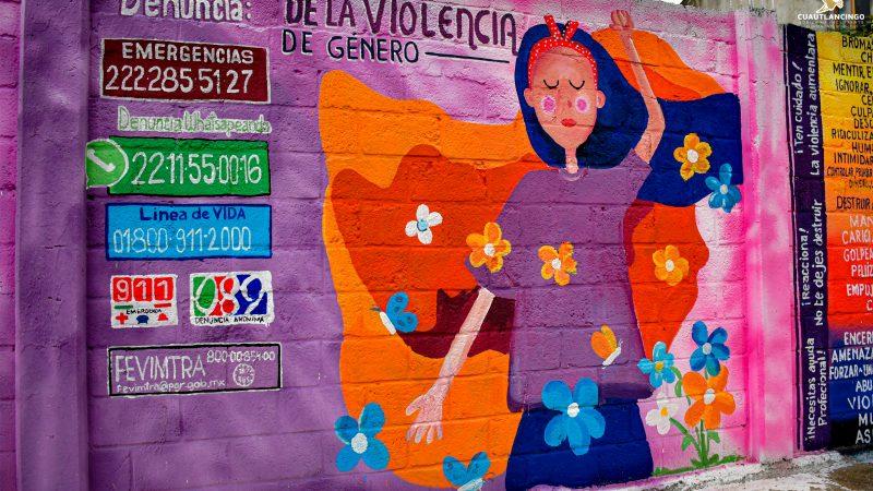 Fomentan prevención del delito y violencia con murales en Cuautlancingo